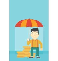 Businessman with umbrella protecting money vector image