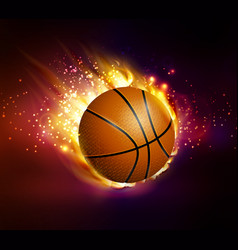 flying basketball on fire vector image