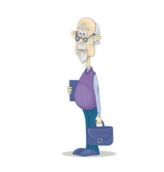 funny bald grandfather with gray hair and beard in vector image vector image