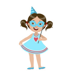 girl with paper mask part of kids at the birthday vector image vector image