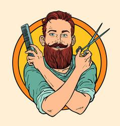 hipster barber scissors comb barbershop vector image