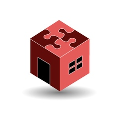 Logo for real estate market with a puzzle roof vector image vector image