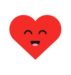 cute cartoon emoticon happy heart in modern flat vector image vector image