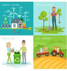 eco set recycling planting trees energy saving vector image