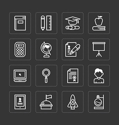 flat icons set of education school tools vector image vector image