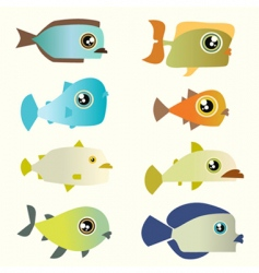 cartoon fish set vector image vector image