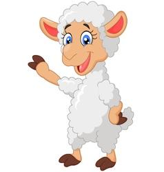 Cartoon sheep waving hand vector image