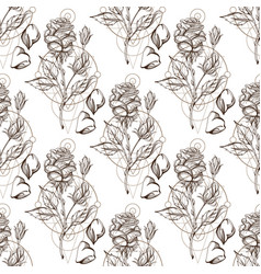 seamless pattern with the image of roses vector image vector image