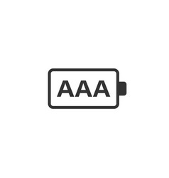 Aaa battery icon in flat style power level vector