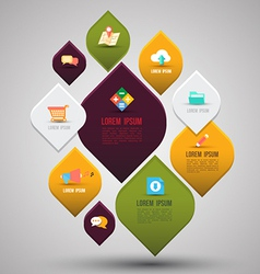 Abstract business info graphics with flat icons vector image