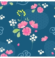 Abstract Flowers Seamless pattern with navy vector