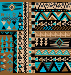 african doodle ethnic texture in blue and brown vector image