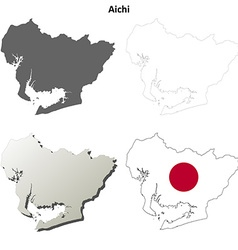 Aichi blank outline map set vector