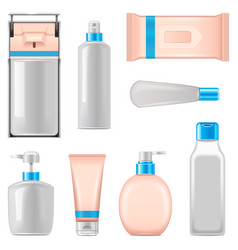 Antiseptic packaging icons vector