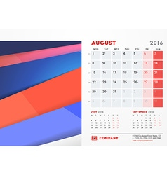 August 2016 Desk Calendar for 2016 Year Stationery vector