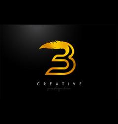 B golden gold feather letter logo icon design vector
