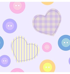 Background with hearts and buttons vector image