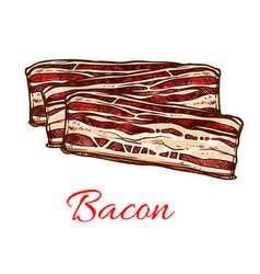 Bacon sketch with stripes of pork meat vector