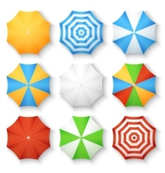 Beach sun umbrellas top view icons vector