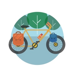 Bicycle near the trees tourism vector