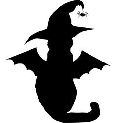 black cat in witch hat and with bat wings vector image