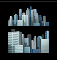 Blue building city in front of black background vector