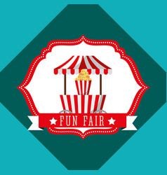 Booth popcorn carnival fun fair retro label vector