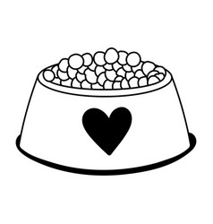 bowl food pet cartoon isolated white background vector image