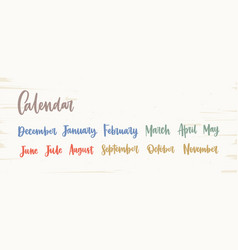 bundle of colorful english names of months written vector image