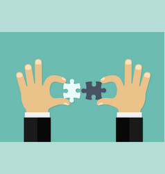 business matching - connecting puzzle elements vector image