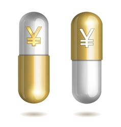 Capsule Pills with Yen Signs vector