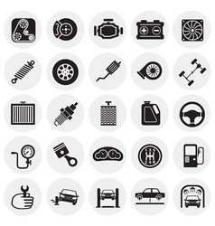 Car parts and repair set on circles background for vector