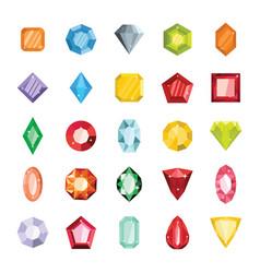 Cartoon flat gems jewels vector