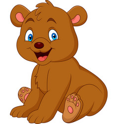 Cartoon happy baby bear vector