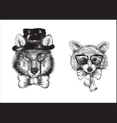 cartoon raccoon and wolf dressed in bow tie vector image