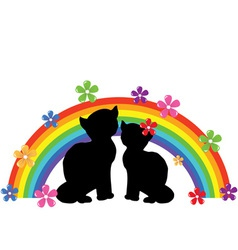 cats rainbow vector image