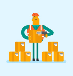 Caucasian warehouse worker scanning barcode on box vector