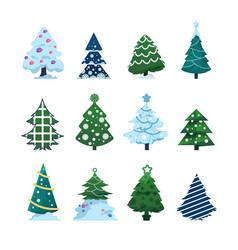 christmas fir collection conifers decorated vector image