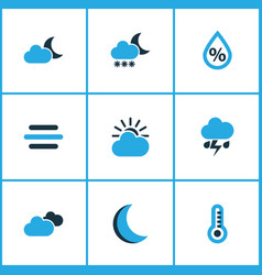 climate icons colored set with snowfall moon vector image