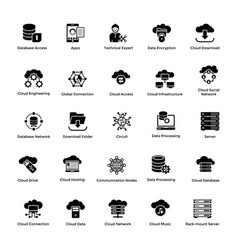 Cloud computing glyph icons set 1 vector