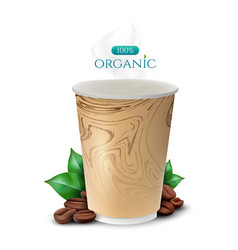 coffee paper cup with coffee beans and leafs vector image