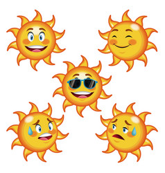Collection funny sun differents face cartoon vector