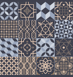 Collection of square ceramic tiles with various vector