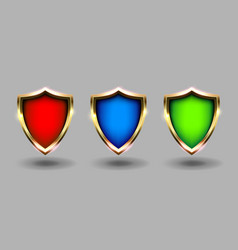colorful shields set banner grey background red vector image