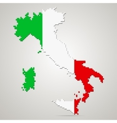 Creative pixel italy map vector