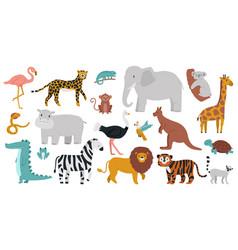 cute african animals wood jungle or savanna vector image