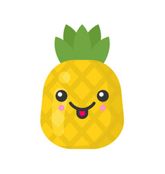 Cute smiling exotic pineapple isolated colorful vector