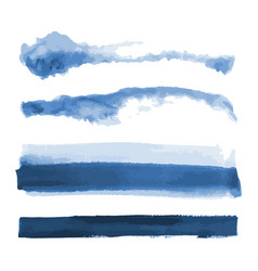 Deep blue watercolor shapes stains brush strokes vector