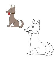 Dog sits Coloring vector
