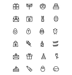 Easter Line Icons 4 vector image